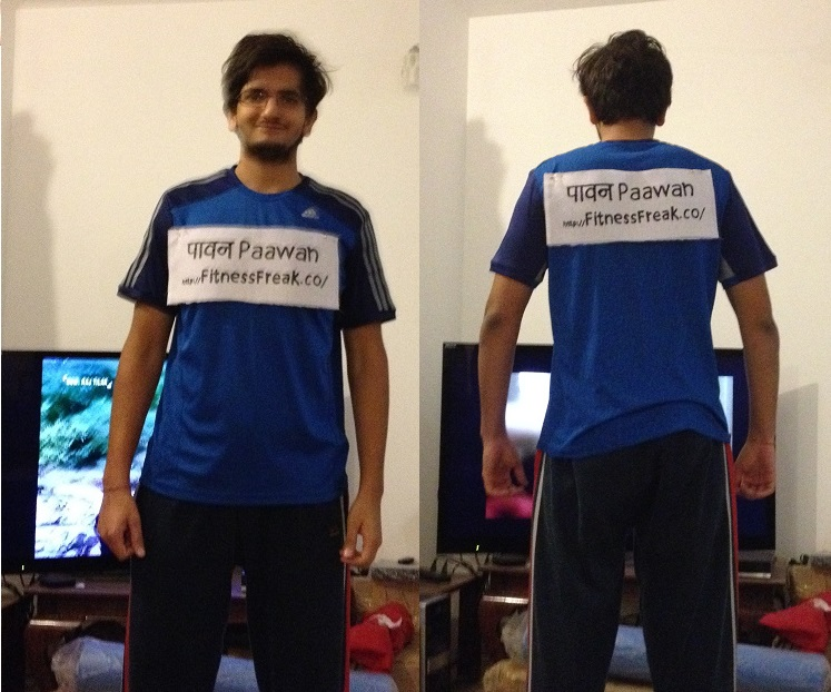 Front and Rear - Cloth with my name attached like bib on 25th January 2014