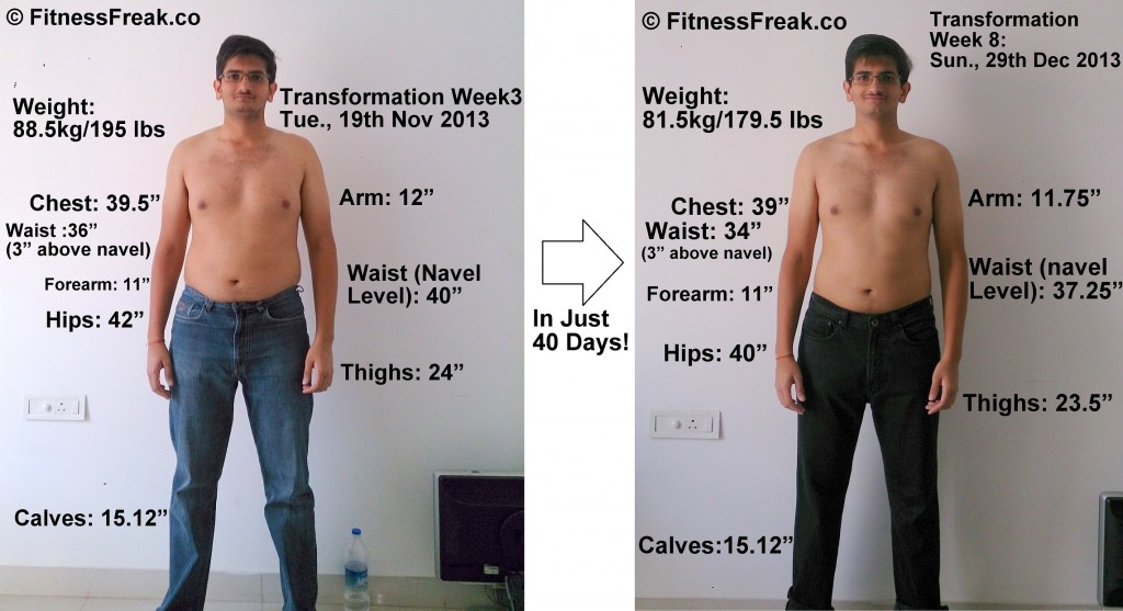 Comparison of my pictures of November and December 2013 with Measurements and Weight