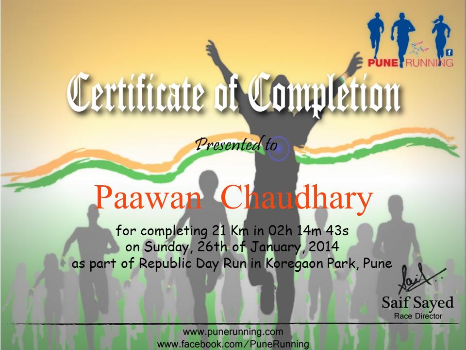 First Half-Marathon - Certificate of Completion - 2 hr 14 min 43 sec